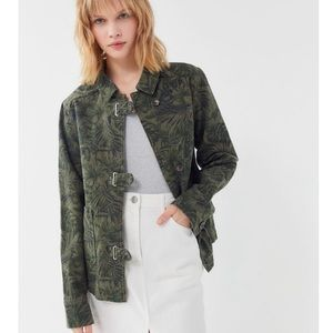 UO Denim Jacket Olive Green Palm Print BDG Brand M